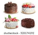 Stock photo set of different delicious cakes on white background 520174192
