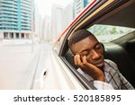 exhausted young african man... | Shutterstock . vector #520185895