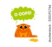 oops card with cat isolated on... | Shutterstock .eps vector #520191766