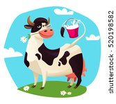 Stock vector cute cow with milk bucket vector illustration 520198582