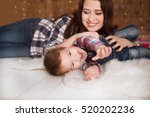 funny crawling baby boy with... | Shutterstock . vector #520202236