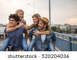 friends piggybacking and... | Shutterstock . vector #520204036