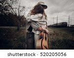 stylish hipster couple dancing... | Shutterstock . vector #520205056