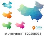 set of vector polygonal china...