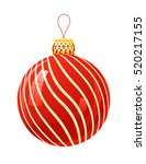 red christmas ball with twisted ... | Shutterstock .eps vector #520217155