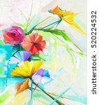 abstract oil painting of spring ... | Shutterstock . vector #520224532