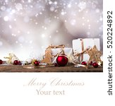 christmas decoration on wooden... | Shutterstock . vector #520224892