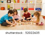 children playing with blocks on ... | Shutterstock . vector #52022635