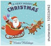 vintage christmas poster design ... | Shutterstock .eps vector #520226962