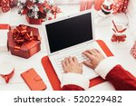 santa working at desk and... | Shutterstock . vector #520229482