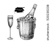 champagne glass and bottle in... | Shutterstock .eps vector #520230238