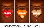 dark chocolate heart with... | Shutterstock .eps vector #520236598