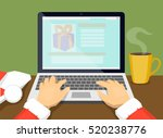 santa chooses gifts on the... | Shutterstock .eps vector #520238776