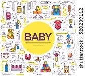 world thin line breastfeeding... | Shutterstock .eps vector #520239112