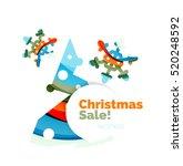 geometric christmas sale or... | Shutterstock . vector #520248592