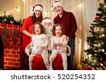 happy family with santa claus... | Shutterstock . vector #520254352