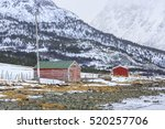 red rorbu fishing huts on... | Shutterstock . vector #520257706