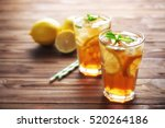 glasses of iced tea with lemon... | Shutterstock . vector #520264186