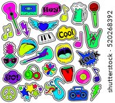 colorful fun set of music... | Shutterstock .eps vector #520268392