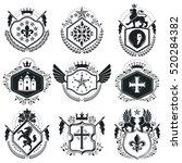 retro vintage insignias. vector ... | Shutterstock .eps vector #520284382