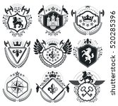 retro vintage insignias. vector ... | Shutterstock .eps vector #520285396
