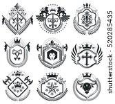retro vintage insignias. vector ... | Shutterstock .eps vector #520285435