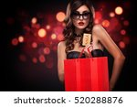 shopping woman holding grey bag ... | Shutterstock . vector #520288876
