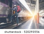 young traveler with backpack in ... | Shutterstock . vector #520293556