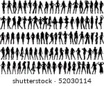 vector silhouettes of 100 girls | Shutterstock .eps vector #52030114