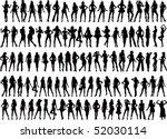 vector silhouettes of 100 girls | Shutterstock .eps vector #52030114