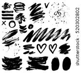 vector ink and paint textures... | Shutterstock .eps vector #520302802
