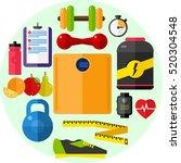 diet  fitness flat illustration ...   Shutterstock .eps vector #520304548
