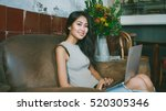 young entrepreneur is typing... | Shutterstock . vector #520305346