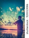 fishing rod lake fisherman men... | Shutterstock . vector #520313086