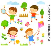 set of cute kids playing... | Shutterstock .eps vector #520315342