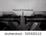 policy   procedures typed words ... | Shutterstock . vector #520320112