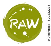raw food hand drawn round label ... | Shutterstock .eps vector #520332235