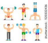 men fitness classes cartoon... | Shutterstock .eps vector #520332436