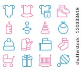 baby icon set  clothes and toys | Shutterstock .eps vector #520333618