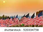 many us american flags on poles ... | Shutterstock . vector #520334758