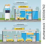 Gas Filling Station Vector Fla...