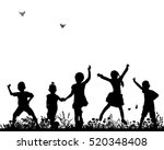vector silhouette of children... | Shutterstock .eps vector #520348408