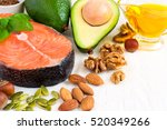 selection food sources of omega ... | Shutterstock . vector #520349266
