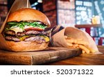 fresh tasty burger and french... | Shutterstock . vector #520371322