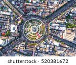 aerial view road roundabout... | Shutterstock . vector #520381672