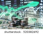 stack of coins and american... | Shutterstock . vector #520382692