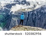 young woman hiker wanderer... | Shutterstock . vector #520382956