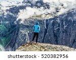 young woman hiker wanderer... | Shutterstock . vector #520382956