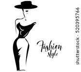 black and white retro fashion... | Shutterstock .eps vector #520395766