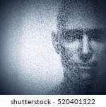 Man Face Blended With Binary...
